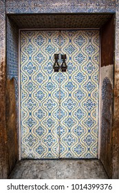 Arabic mosaic painted doors in Morocco.