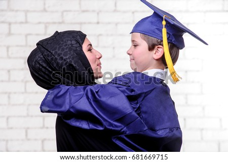 b37ef90fde5 Arabic Mother Posing Graduated Son On Stock Photo (Edit Now ...