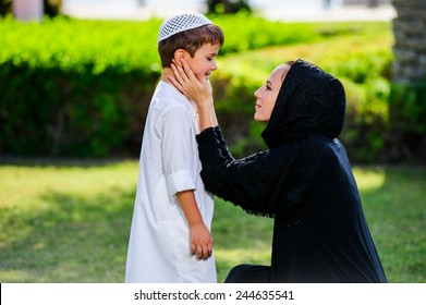 Arabic mother and son.