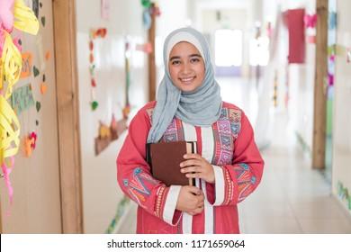 Arabic Muslim girl in school