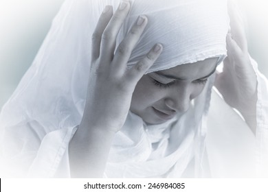 Arabic Muslim Middle Eastern girl wearing white
