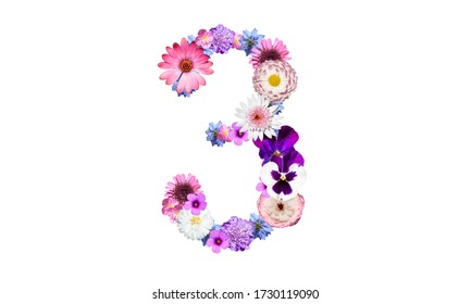 Arabic number 3 decorated with spring flowers