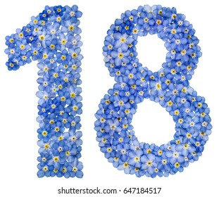 Arabic numeral 18, eighteen, from blue forget-me-not flowers, isolated on white background