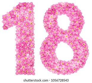 Arabic numeral 18, eighteen, from pink forget-me-not flowers, isolated on white background