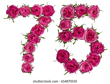 Arabic numeral 75, seventy five, from red flowers of rose, isolated on white background