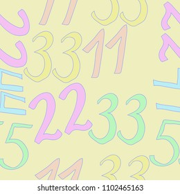 Arabic numerals eleven, twenty two, thirty three, forty four, fifty five seamless  pattern .  Hand drawn.