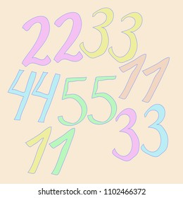 Arabic numerals eleven, twenty two, thirty three, forty four, fifty five pattern .  Hand drawn.