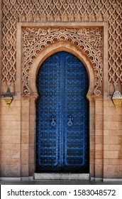 Arabic oriental styled door in Morocco Pantone classic blue color