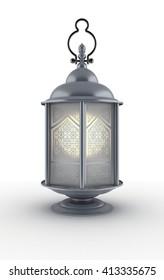 Arabic Ramadan Lantern | 3D Illustration | Aluminium with Arabesque Elements and Blur Glass