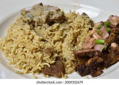 Arabic rice with mutton korma, grilled meat and sour gravy