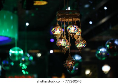 Arabic shining lamps. Decor in Eastern style. Islamic background.