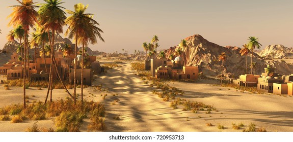 Arabic small town on wasteland, 3d rendering