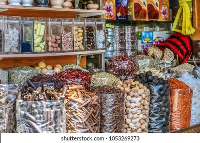 Arabic Spices, herbs & Nuts at a market Shop In Bazaar Souq In Dubai United Arab Emirates Middle East