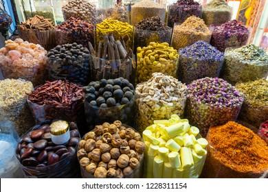 Arabic spices for sale in a market in Dubai, UAE