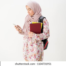 Arabic student girl call with mobile