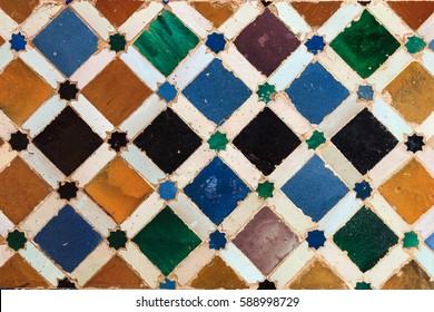 Arabic tiles background. Alhambra of Granada. Spain