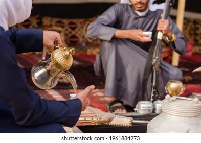 Arabic Traditional Hospitality (Saudi Arabia). Bedouin lifestyle People.