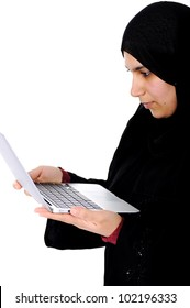Arabic woman working with touch tablet
