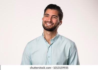 arabic young man happy smiling using earphones