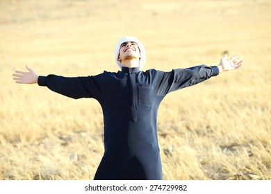 Arabic young man in nature