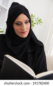 Arabic Young Woman Reading A Book