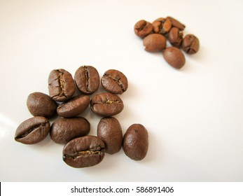 Arabica coffee beans (in front) compared to Robusta beans
