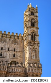 Arab-Norman architectural style of Cathedral Santa Vergine Maria Assunta (was erected in 1185) in Palermo, Sicily, Italy. Eastern side details.