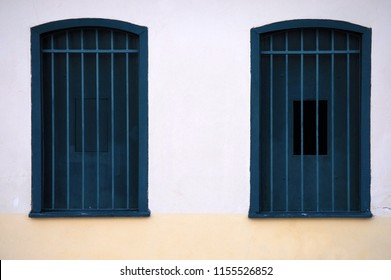 São Cristovão, Aracaju, Brazil, July 22, 2015. Windows of historic colonial houses, located in the municipality of São Cristovão, in the city of Aracaju, in the state of Sergipe.