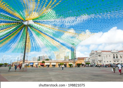 ARACAJU, BRAZIL - JUNE 6, 2014: Saint John flags at the municipal market, in Aracaju - Sergipe