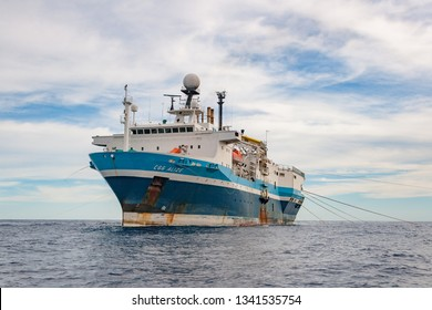 Aracaju city, Sergipe State, Brazil, april, 04, 2007.  Seismic vessel CGG Alize towing seismic cables in offshore area, for geological data acquisition,  close to Aracaju city.