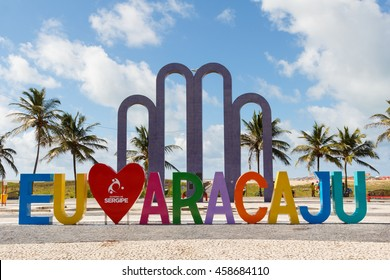 ARACAJU, SE/BRAZIL - JUNE 24: Letters I love Aracaju on famous beach Atalaia on June 24, 2016 in Aracaju. Aracaju is capital of Sergipe, hosts 7 teams for Summer Olympics