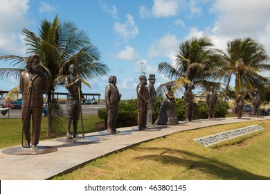ARACAJU, SE/BRAZIL - JUNE 24: Monument to national founders near beach Orla Atalaia on June 24, 2016 in Aracaju. Aracaju is capital of Sergipe, hosts 7 teams for Summer Olympics