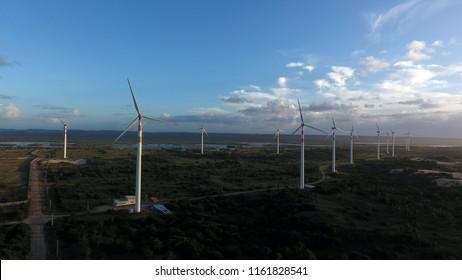 Aracaju, Sergipe / Brazil - July 14 2017: Aracaju's windmill park.