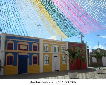Aracaju/Sergipe/Brazil - June 14, 2009: multicolored street ornaments for the feast of St. John in Aracaju.