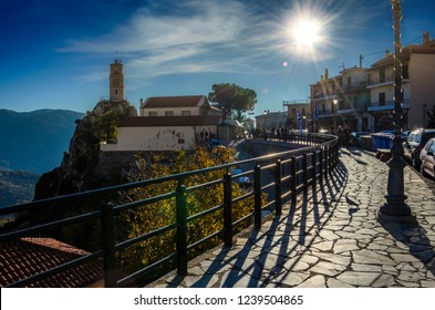 ARACHOVA, BOEOTEA - GREECE, DECEMBER 2015: Scenic view of Arachova Village. Arachova is famous for its panoramic view, uphill small houses and the cobbled streets show a picturesque architecture.