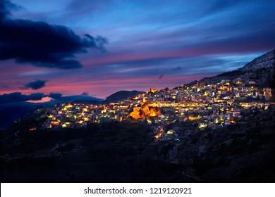 "ARACHOVA, GREECE. Night view of Arachova, the most popular winter resort in Greece, Mount Parnassos, Viotia (or ""Boeotia""), Central Greece"