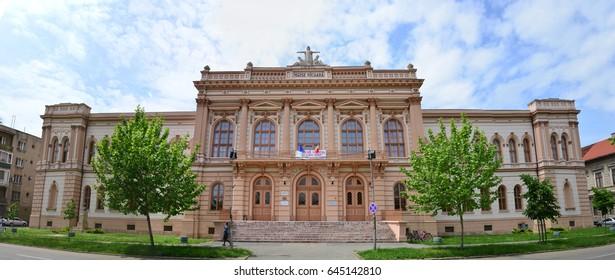 ARAD, ROMANIA - 05.09.2017: Moise Nicoara highschool landmark architecture