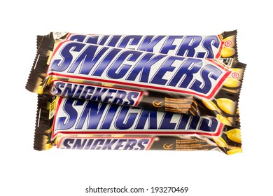 ARAD, ROMANIA - December 2, 2011: Snickers bars. Studio shot, isolated on white background.