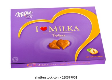 ARAD, ROMANIA - December 6, 2011: Milka Chocolate Pralines with Hazelnut Filling. Studio shot, isolated on white background.