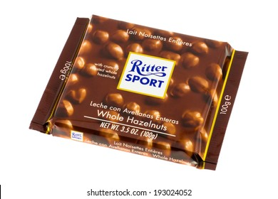 ARAD, ROMANIA - February 23, 2012: Ritter Sport Chocolate with Whole Hazelnuts. Studio shot, isolated on white background.