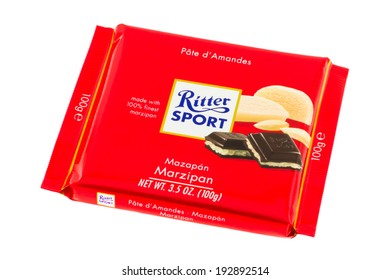 ARAD, ROMANIA - February 7, 2012: Ritter Sport Marzipan Chocolate. Studio shot, isolated on white background.