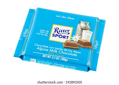 ARAD, ROMANIA - February 9, 2012: Ritter Sport Alpine Milk Chocolate. Studio shot, isolated on white background.