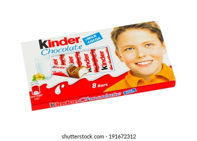 ARAD, ROMANIA - January 17, 2012: Kinder chocolate. Studio shot, isolated on white background.