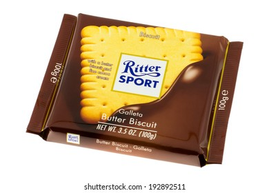 ARAD, ROMANIA - January 31, 2012: Ritter Sport Butter Biscuit. Studio shot, isolated on white background.