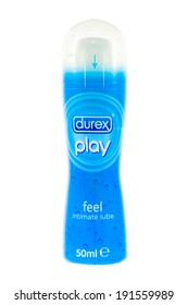 ARAD, ROMANIA - July 14, 2012: Durex Play Intimate Lubricant. Studio shot, isolated on white background.