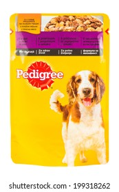 ARAD, ROMANIA - June 16, 2012: Pedigree Dog Food. Studio shot, isolated on white background.