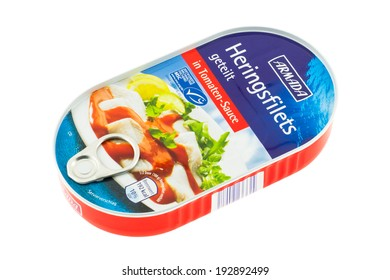 ARAD, ROMANIA - March 4, 2012: Canned Armada Herring Fillets in Tomato Sauce. Studio shot, isolated on white background.