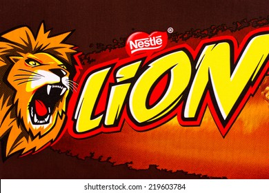 ARAD, ROMANIA - March 4, 2012: Lion Bar logo printed on cardboard. Lion Bar is a chocolate bar made by Nestle. Studio shot.