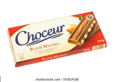 ARAD, ROMANIA - March 7, 2012: Choceur Rahm Mandel Chocolate. Studio shot, isolated on white background.