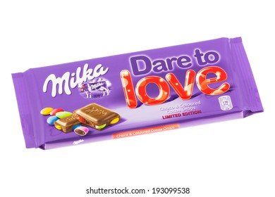 ARAD, ROMANIA - May 15, 2012: Milka Dare to Love Chocolate. Studio shot, isolated on white background.